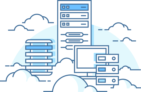 Illustration of servers and clouds